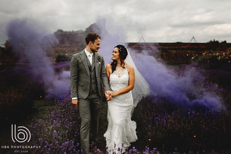 Wedding couple in the lavender labyrinth