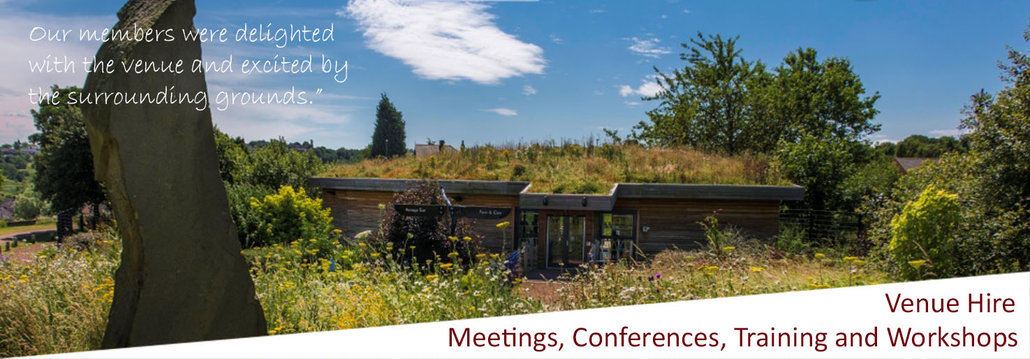 The green roofed discovery centre on a sunny day. venue for training, workshops, meetings conferences